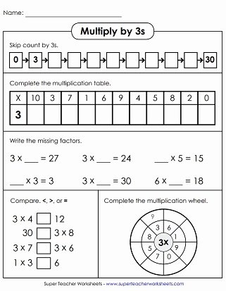 0 3 Multiplication Worksheets Lovely Multiplication by 3s