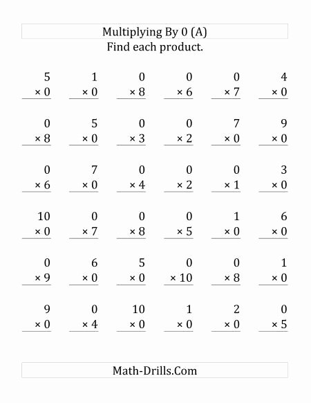 0 Multiplication Worksheets Fresh Multiplying 1 to 10 by 0 36 Questions