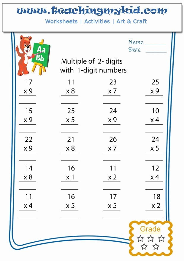 1 Digit Multiplication Worksheets Unique Multiply Multiple 2 Digits with 1 Digit Numbers Archives