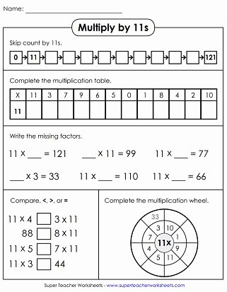 11 Multiplication Worksheets Best Of Multiplying by 11