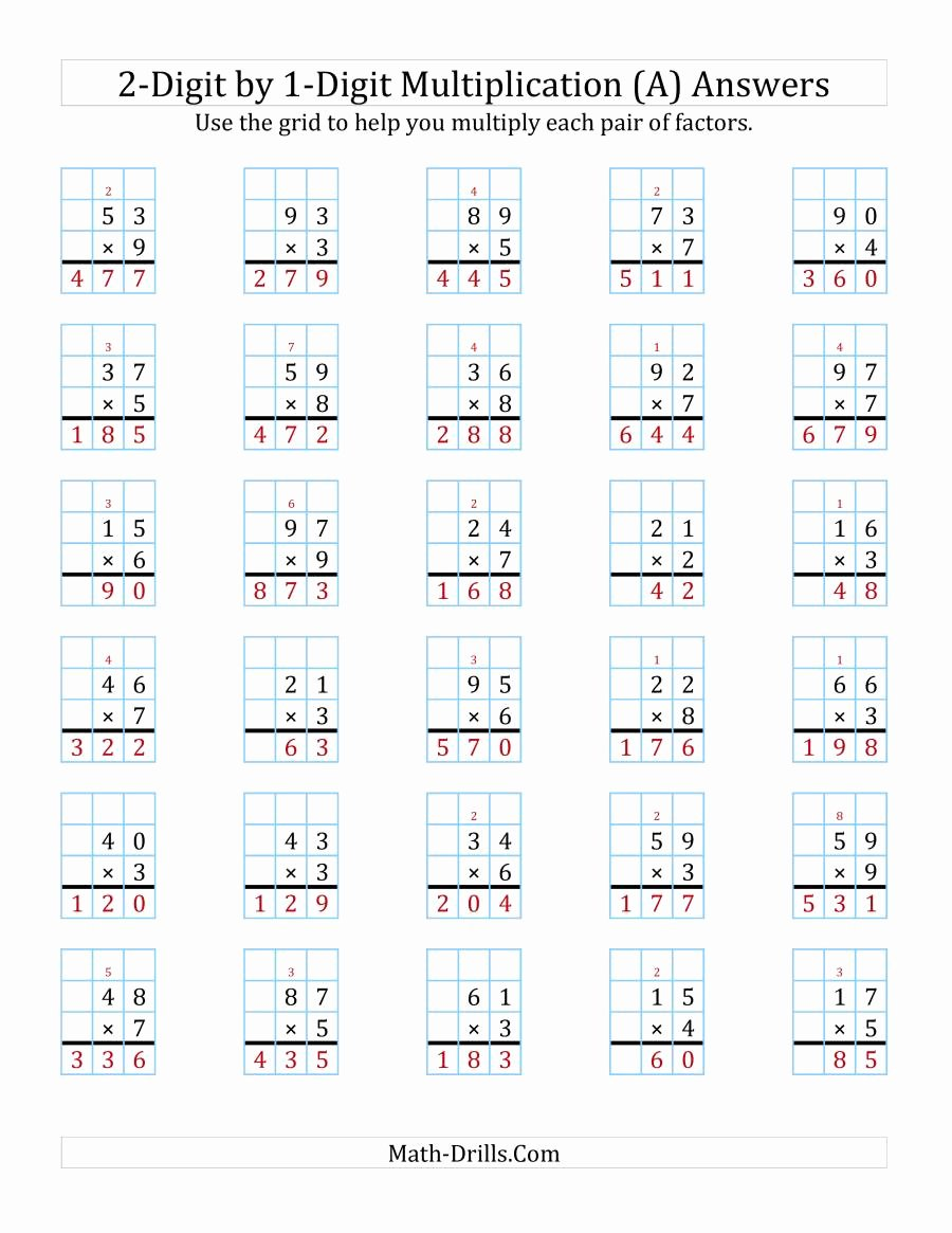 2 by 1 Digit Multiplication Worksheets Fresh 2 Digit by 1 Digit Multiplication with Grid Support A