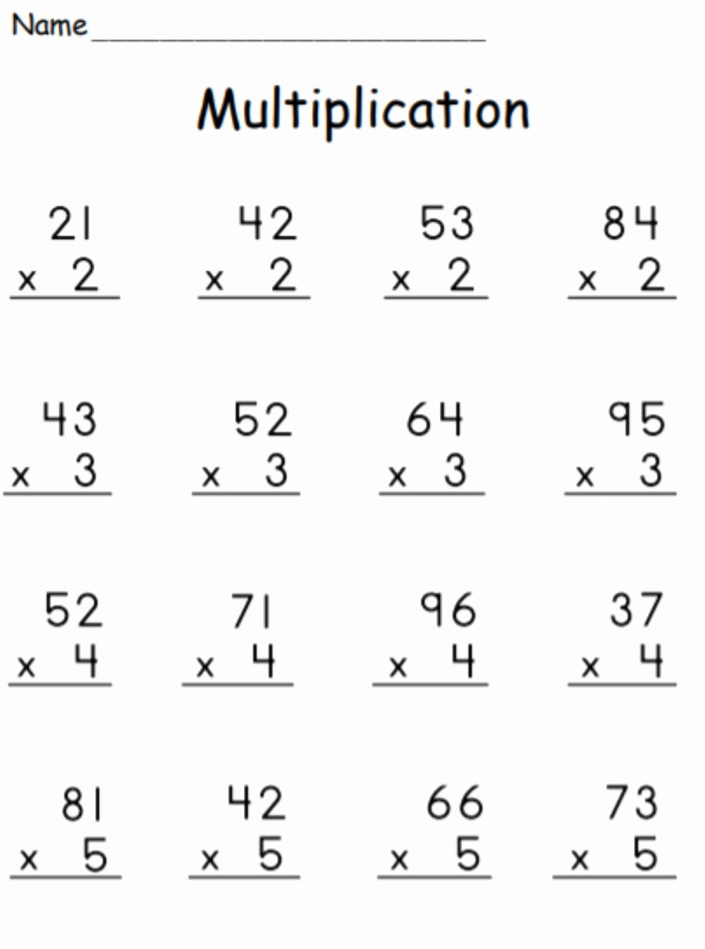 2 by 1 Digit Multiplication Worksheets top Multiplication 2 Digit by 1 Digit with Regrouping