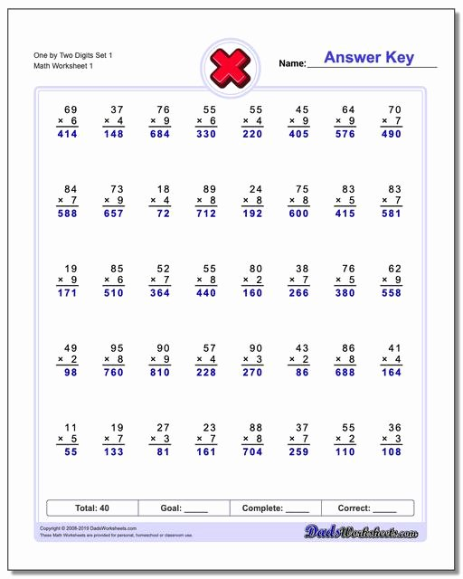 2 by 1 Digit Multiplication Worksheets Unique Multiple Digit
