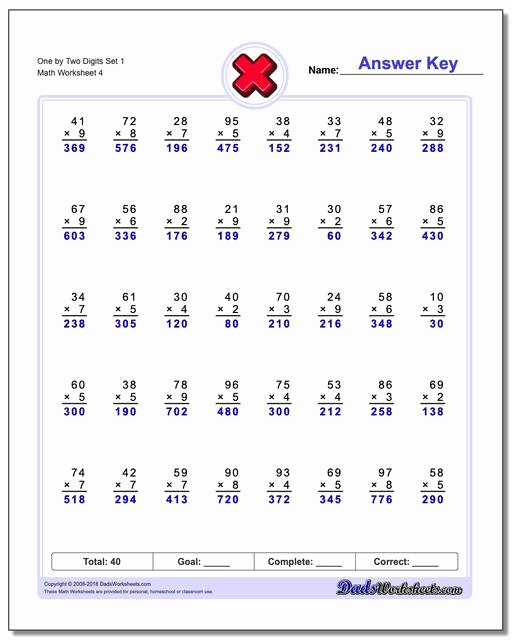 2 by 2 Multiplication Worksheets Best Of Multiple Digit