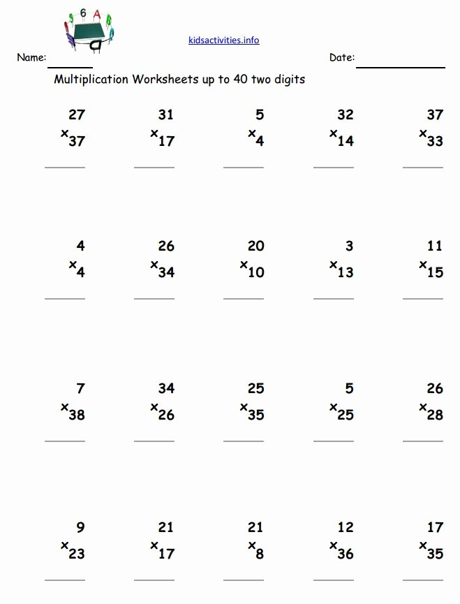 2 Digit by 1 Digit Multiplication Worksheets New Multiplication Math Worksheet 3rd Grade