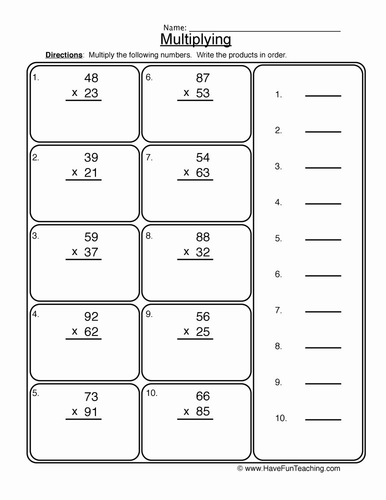 2 Digit by 2 Digit Multiplication Worksheets Inspirational 2 Digit Multiplication Worksheet