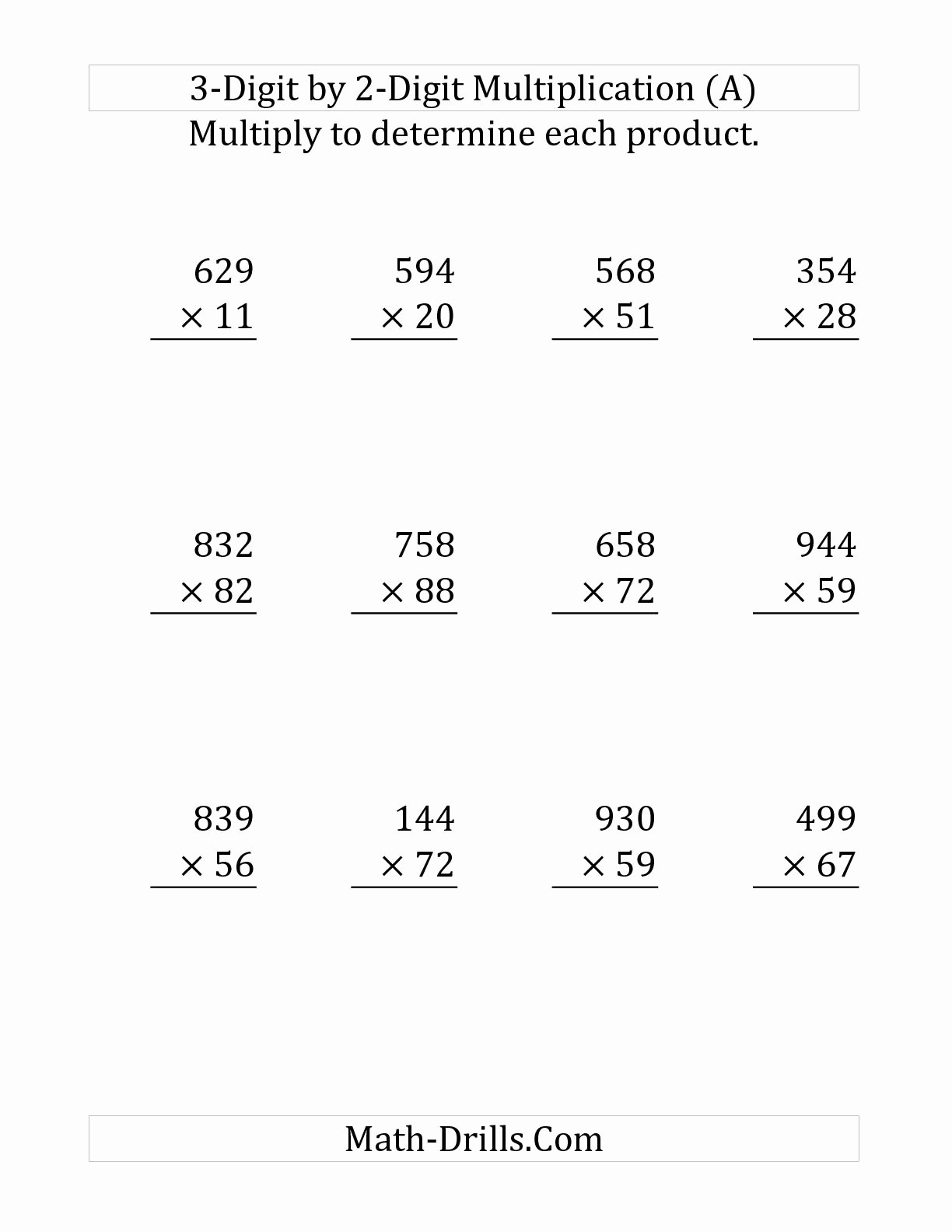 2 Digit by 2 Digit Multiplication Worksheets New 2 Digit Digit Worksheet
