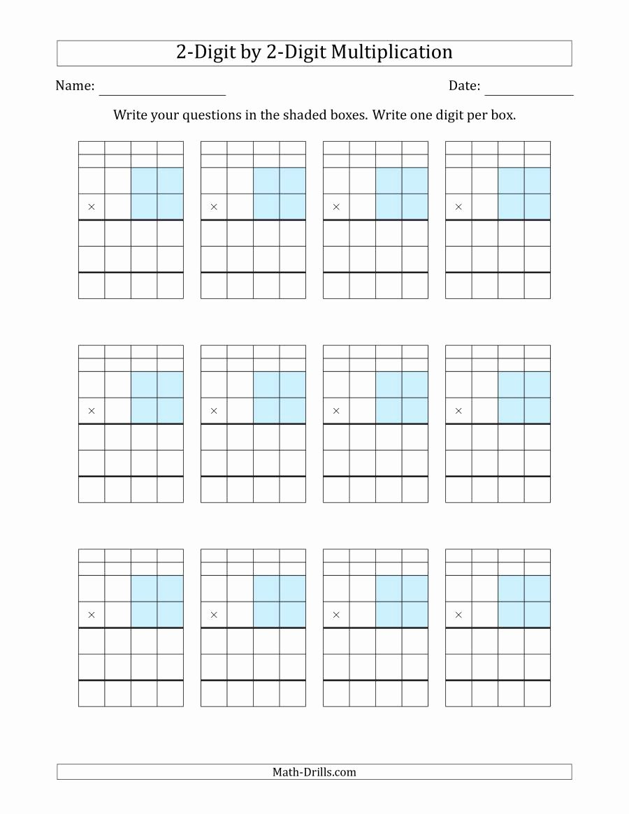 2 Digit by 2 Digit Multiplication Worksheets On Grid Paper Awesome Multiplying 2 Digit by 2 Digit Numbers with Grid Support