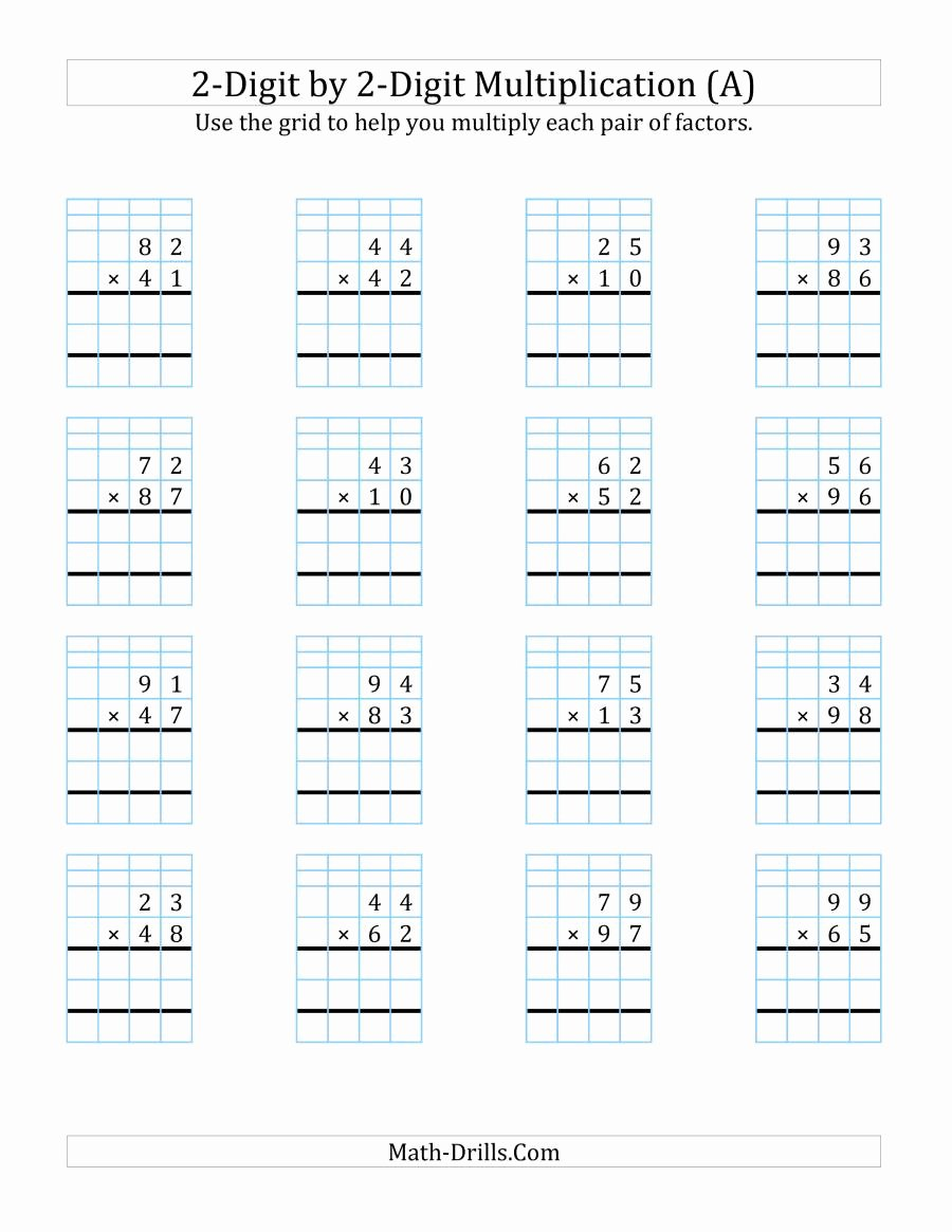 2 Digit by 2 Digit Multiplication Worksheets On Grid Paper Lovely 2 Digit by 2 Digit Multiplication with Grid Support A