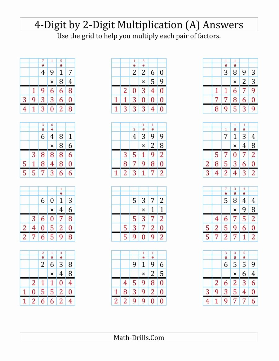 2 Digit by 2 Digit Multiplication Worksheets On Grid Paper New 4 Digit by 2 Digit Multiplication with Grid Support A