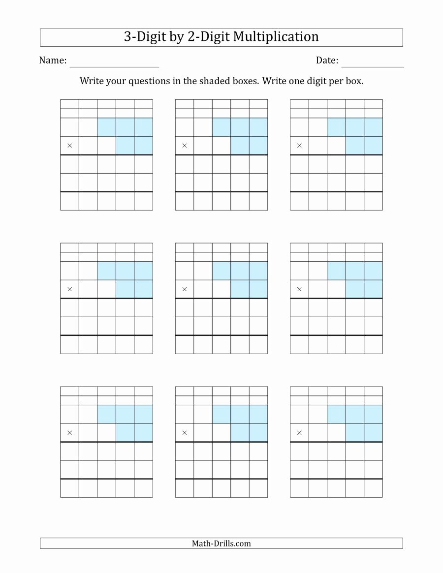 2 Digit by 2 Digit Multiplication Worksheets On Grid Paper New Multiplying 3 Digit by 2 Digit Numbers with Grid Support
