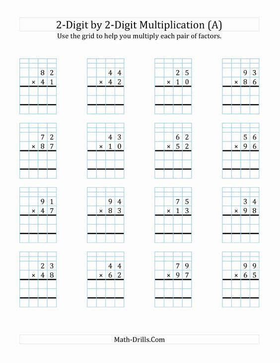 2 Digit by 2 Digit Multiplication Worksheets On Grid Paper Unique the 2 Digit by 2 Digit Multiplication with Grid Support A