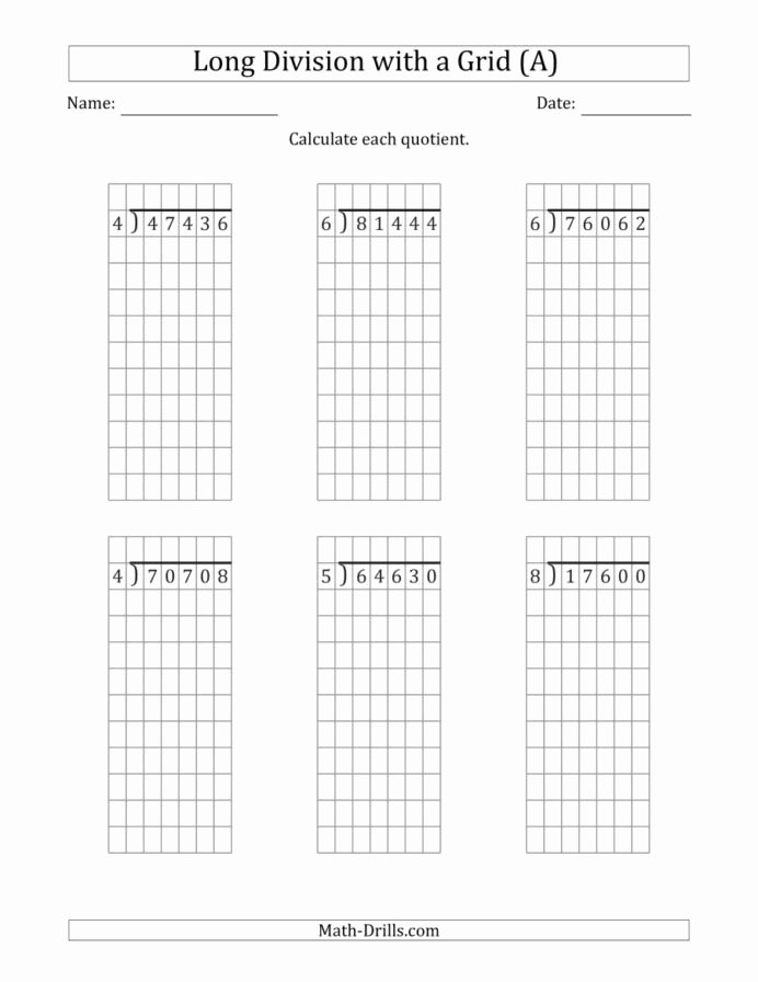2 Digit by 2 Digit Multiplication Worksheets with Grids top Digit by Division with Grid assistance and No Extra Math