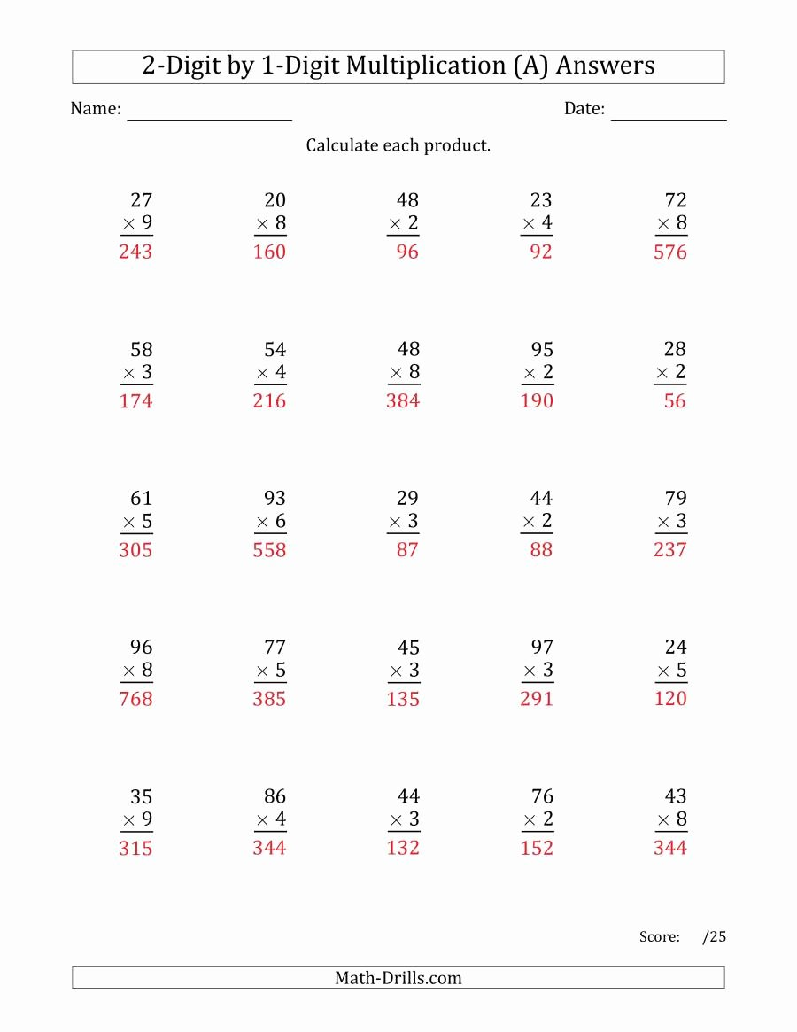 2 Digit Multiplication Worksheets Printable Fresh Multiplying 2 Digit by 1 Digit Numbers A