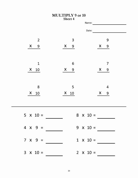 2 Multiplication Worksheets Fresh Multiplication Worksheets for Grade Sheets Pdf Etsy