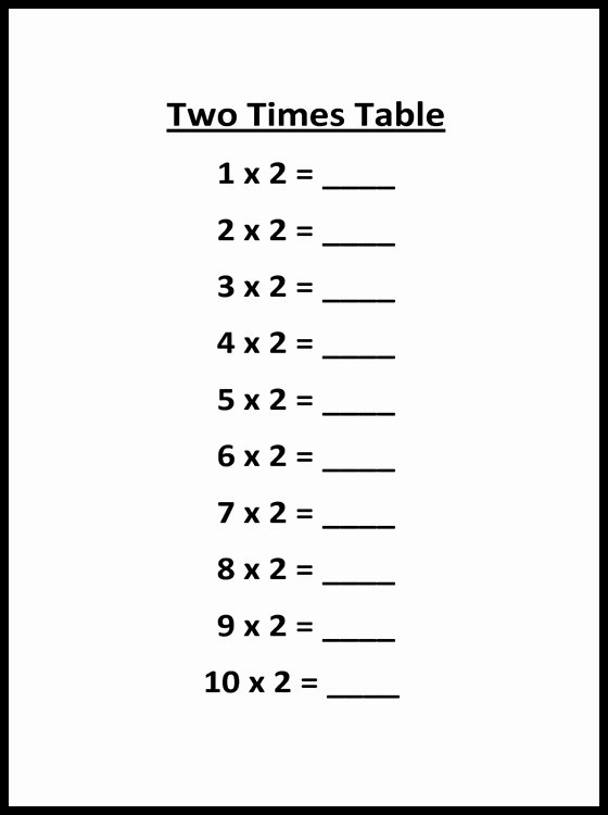 2 Times Multiplication Worksheets Lovely 5 Blank Printable Multiplication Table Of 2 Charts In Pdf
