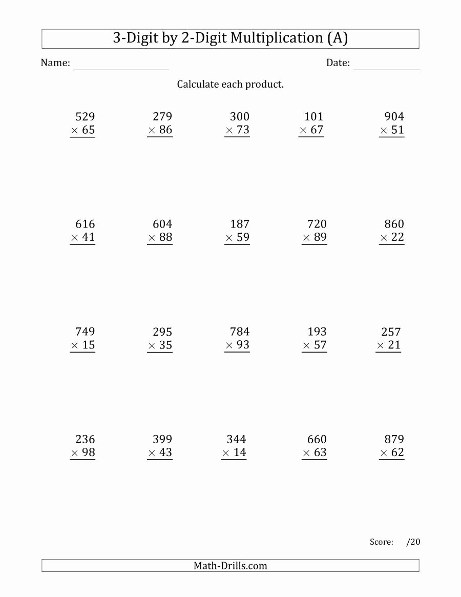 3 by 2 Multiplication Worksheets Awesome Multiplying 3 Digit by 2 Digit Numbers A