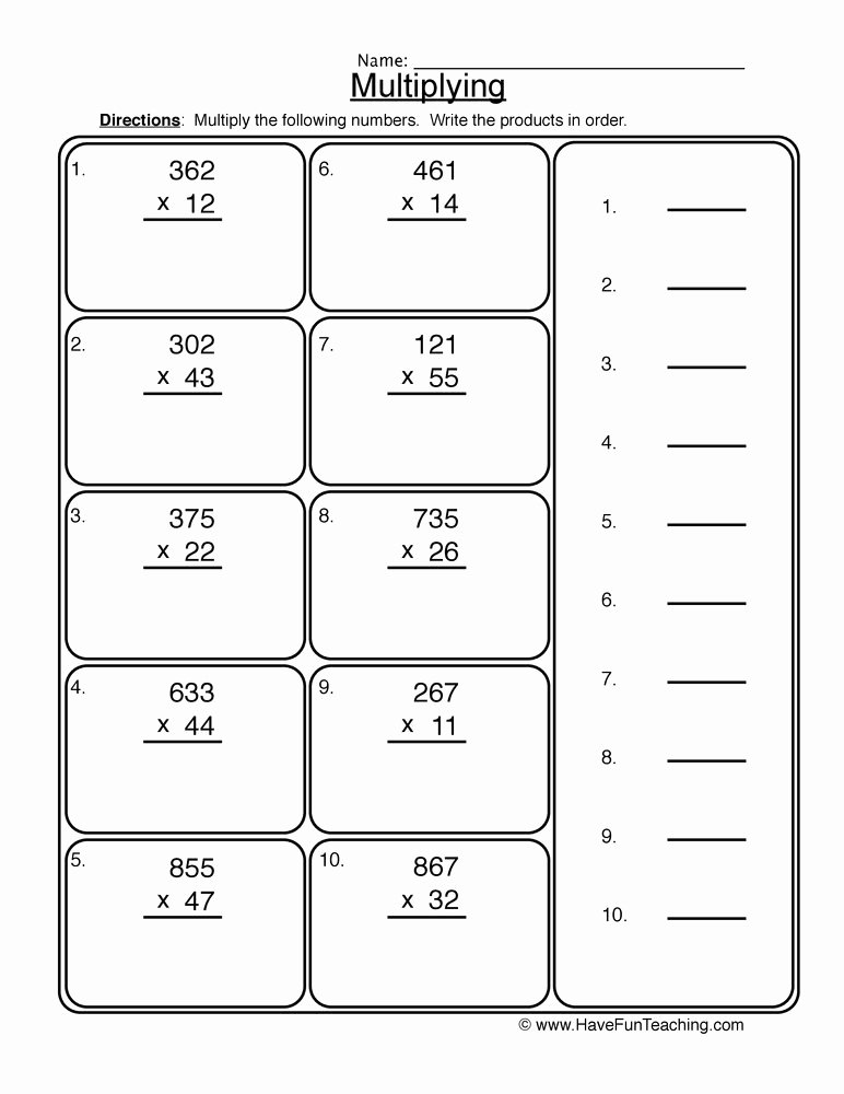 3 by 2 Multiplication Worksheets Fresh 2x3 Digit Multiplication Worksheet