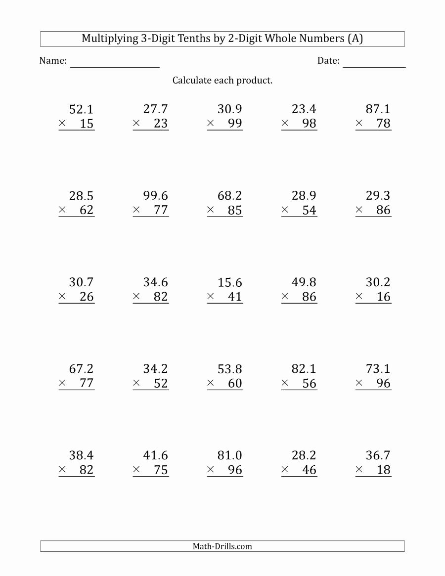3 by 2 Multiplication Worksheets Lovely Multiplying 3 Digit Tenths by 2 Digit whole Numbers A