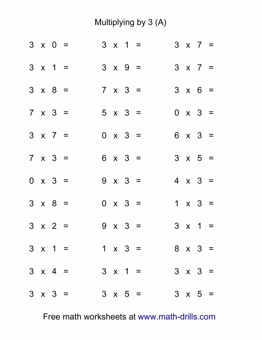 3 by 3 Multiplication Worksheets New 36 Horizontal Multiplication Facts Questions 3 by 0 9 A