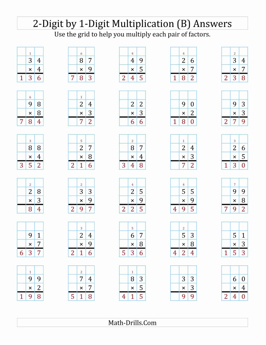 3 Digit by 2 Digit Multiplication Worksheets with Grids Awesome the 2 Digit by 1 Digit Multiplication with Grid Support B