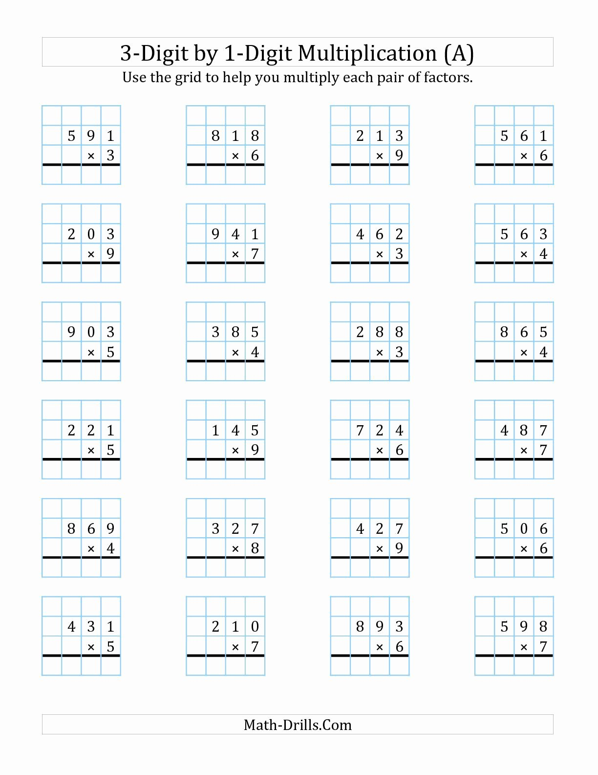3 Digit by 2 Digit Multiplication Worksheets with Grids Inspirational the 3 Digit by 1 Digit Multiplication with Grid Support A
