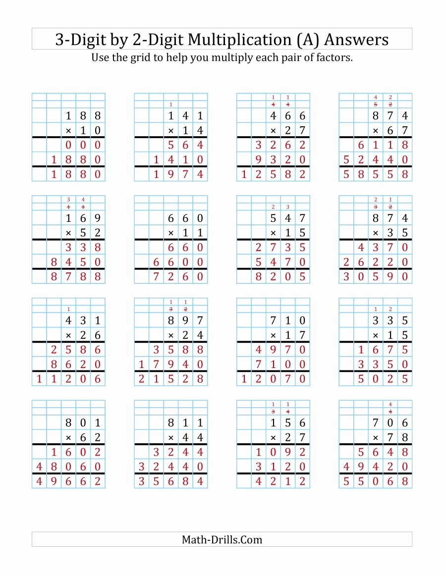 3 Digit by 2 Digit Multiplication Worksheets with Grids Unique 3 Digit by 2 Digit Multiplication with Grid Support A