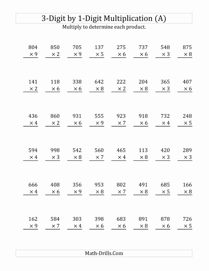 3 Digit by 3 Digit Multiplication Worksheets Fresh 1 Digit Multiplication Worksheets