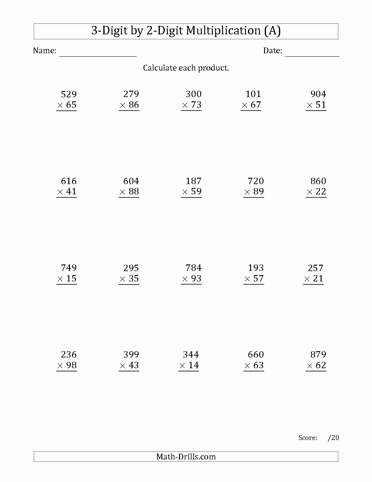 3 Digit by 3 Digit Multiplication Worksheets Unique the Multiplying 3 Digit by 2 Digit Numbers A Math