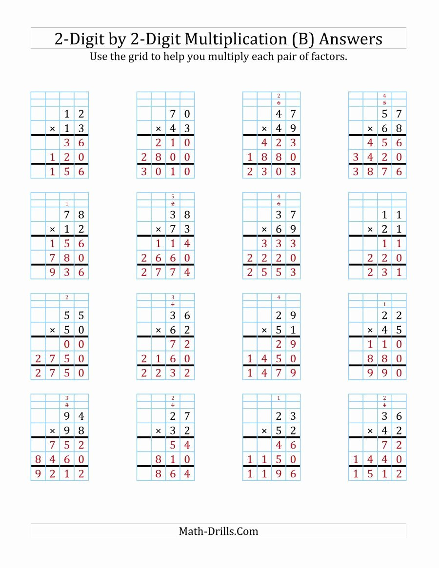 3 Digit by 3 Digit Multiplication Worksheets with Grids Awesome the 2 Digit by 2 Digit Multiplication with Grid Support B