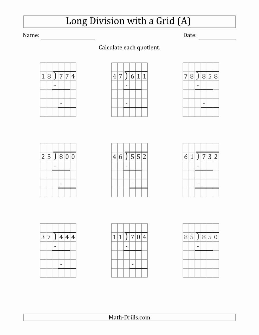 3 Digit by 3 Digit Multiplication Worksheets with Grids Inspirational 3 Digit by 2 Digit Long Division with Grid assistance and