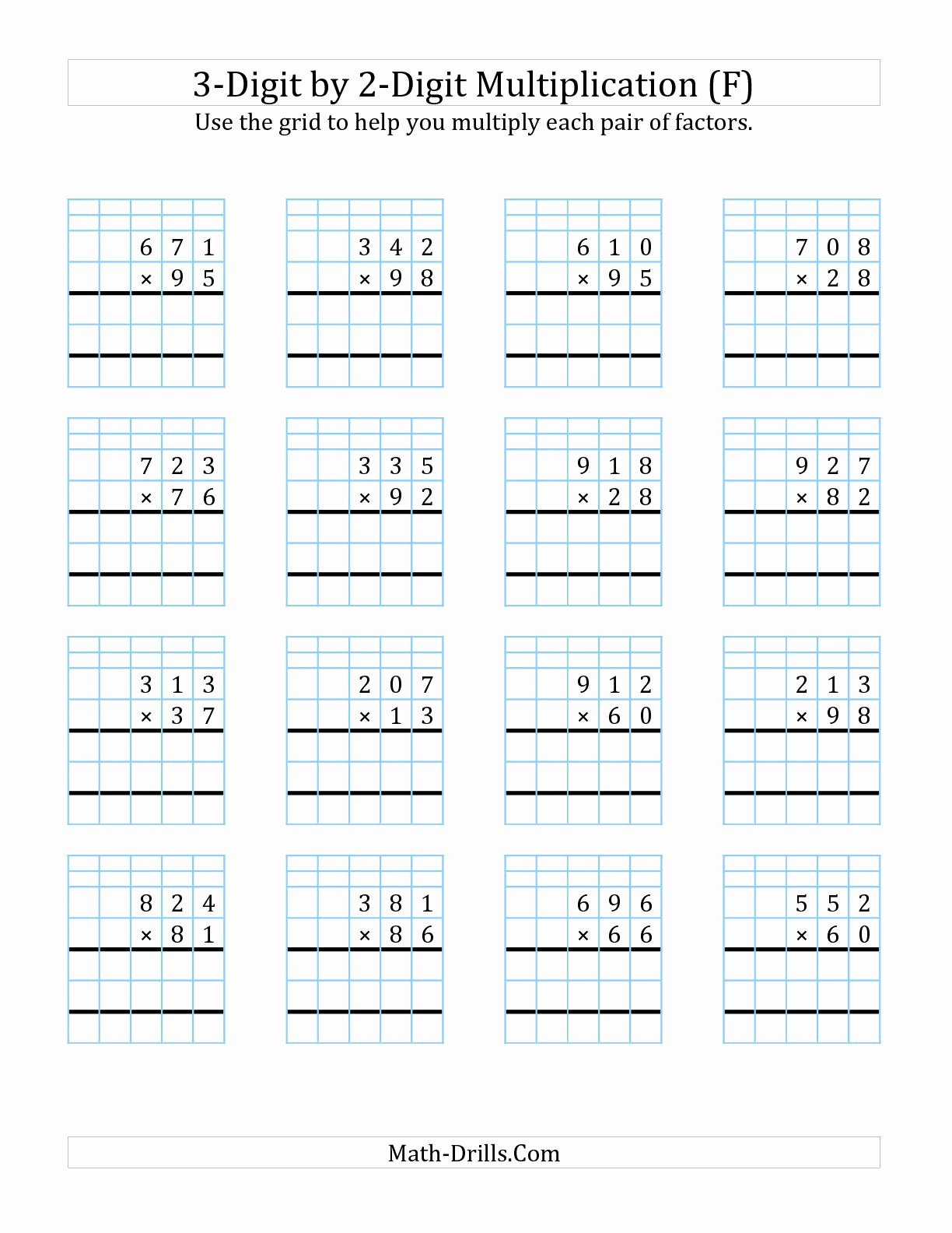 3 Digit by 3 Digit Multiplication Worksheets with Grids Unique the 3 Digit by 2 Digit Multiplication with Grid Support F
