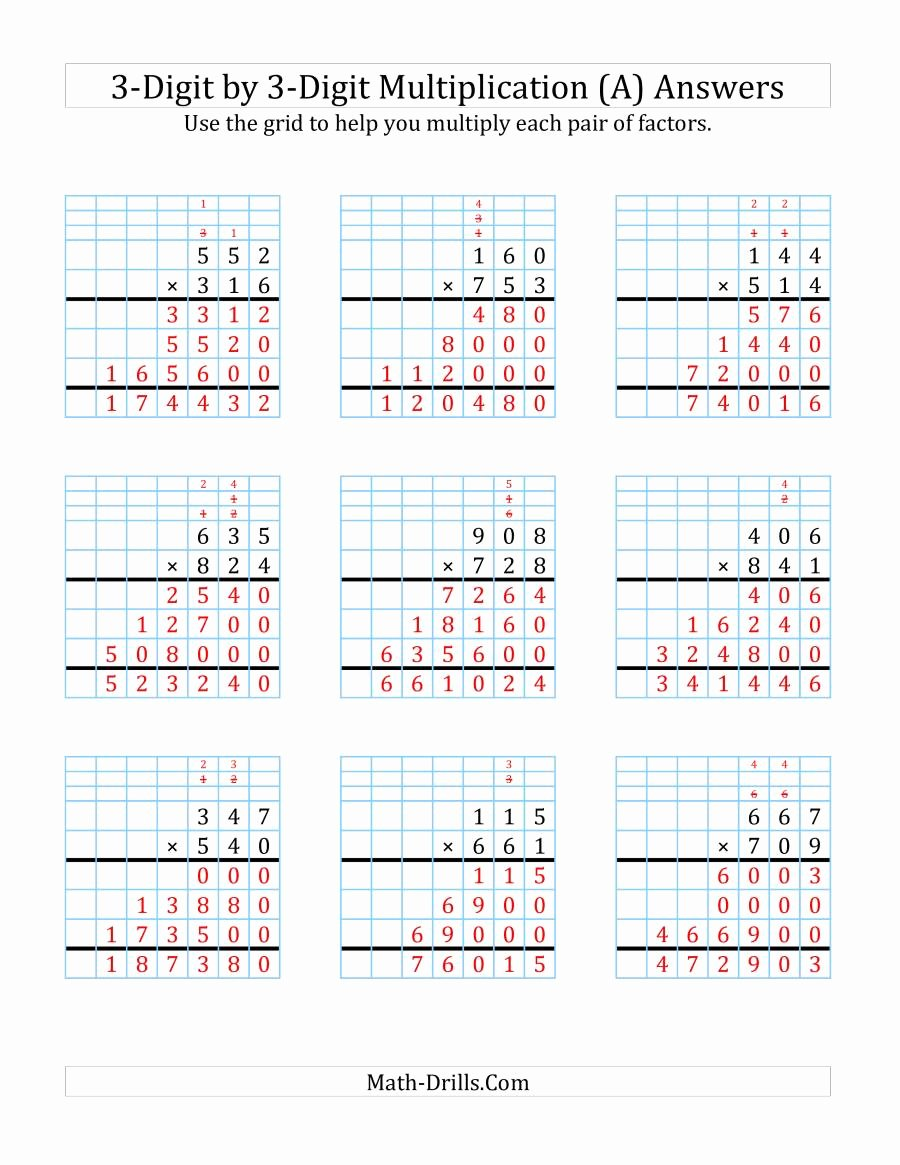3 Digit Multiplication Worksheets Lovely 3 Digit by 3 Digit Multiplication with Grid Support A
