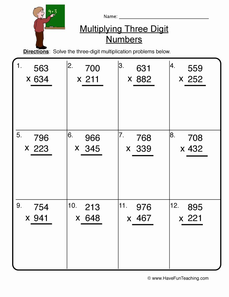 3 Digit Multiplication Worksheets Lovely Multiplying Three Digit Numbers Worksheet