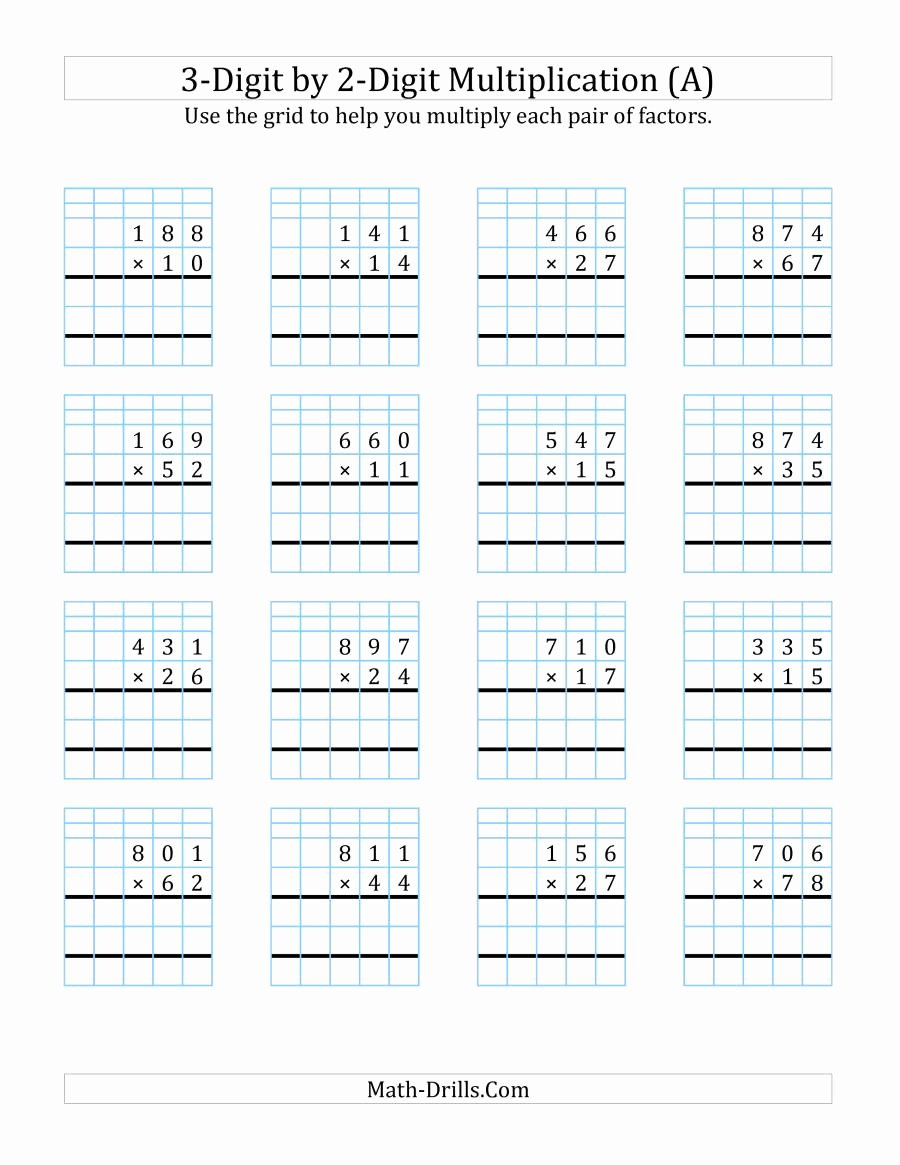 3 Digit Multiplication Worksheets Printable Awesome 3 Digit by 2 Digit Multiplication with Grid Support A