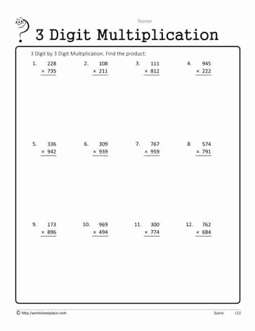 3 Digit Multiplication Worksheets Printable top Worksheet Digit Multiplication by L Games Free Fact