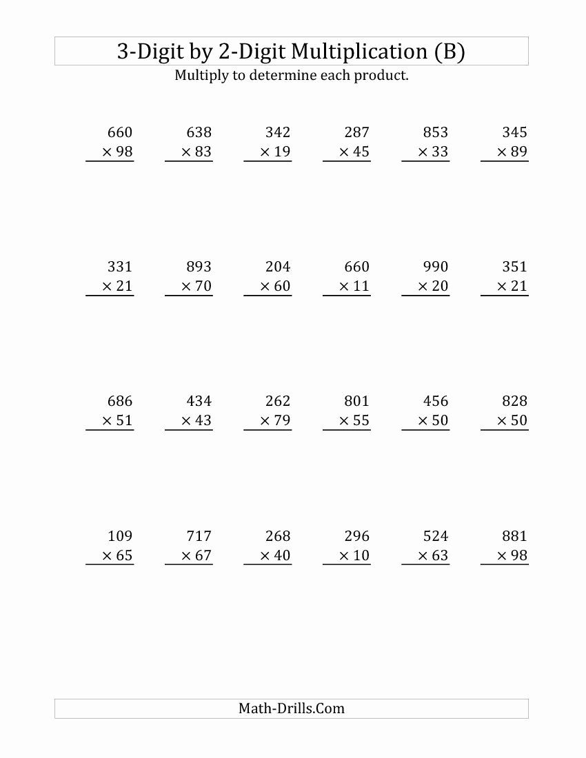 3 Digits by 2 Digits Multiplication Worksheets top 3 Digit by 2 Digit Multiplication B