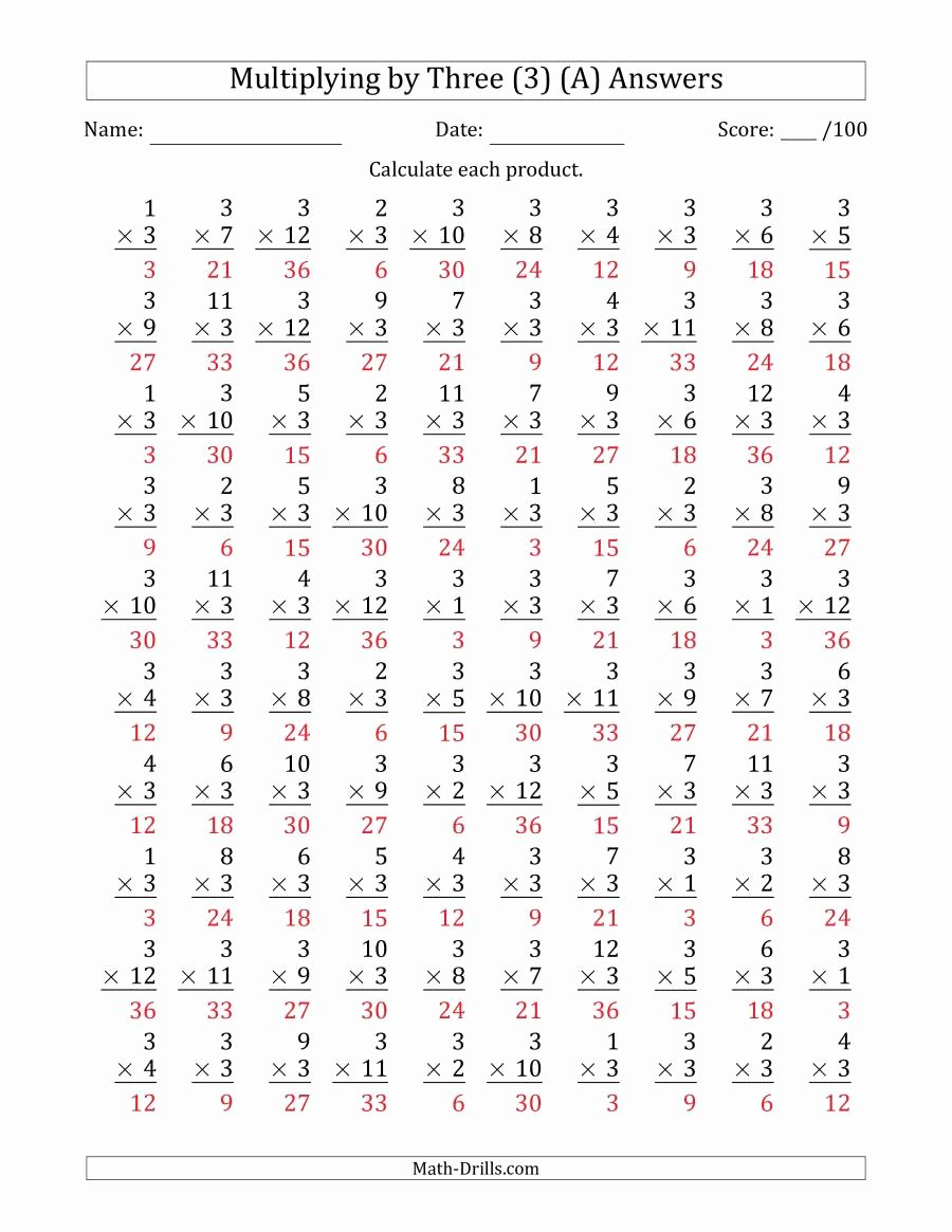 3's Multiplication Worksheets New Multiplying by Three 3 with Factors 1 to 12 100 Questions