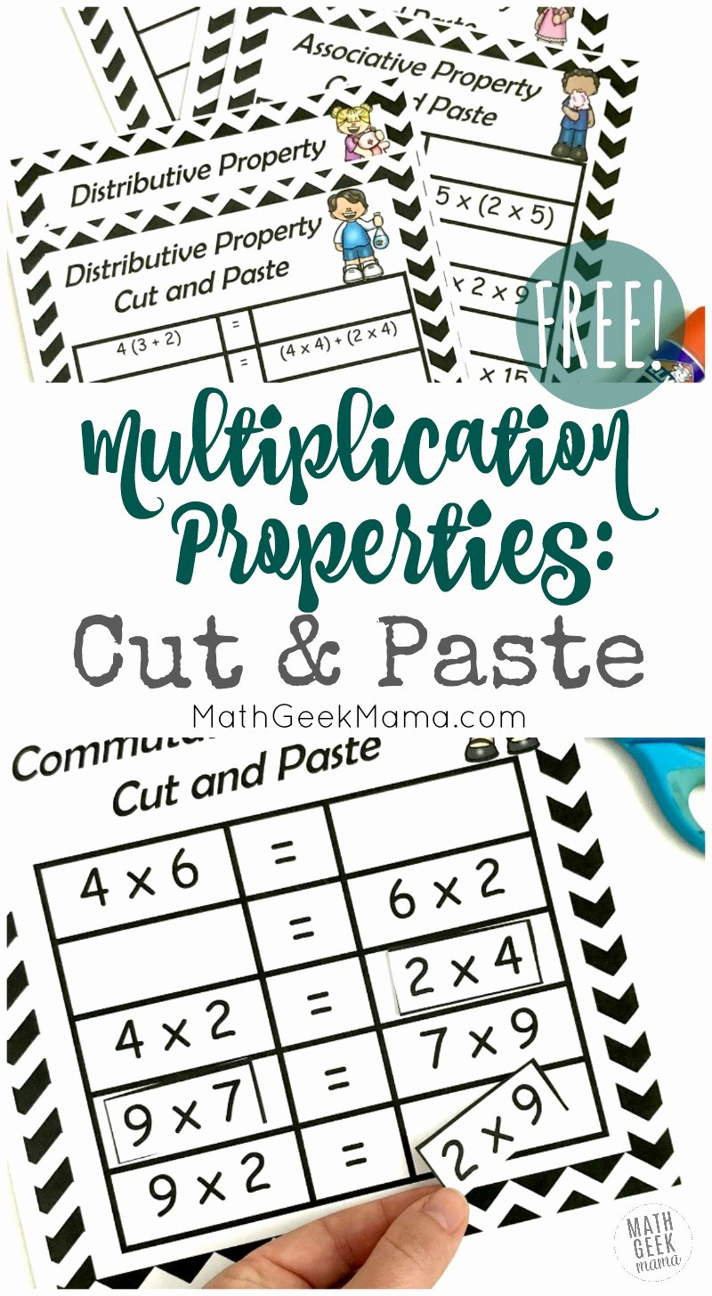 3rd Grade Commutative Property Of Multiplication Worksheets Inspirational Free Properties Of Multiplication Cut & Paste Practice