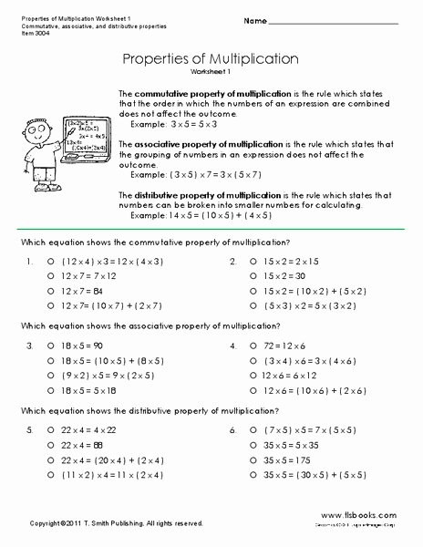 3rd Grade Commutative Property Of Multiplication Worksheets top Properties Of Multiplication Worksheet for 3rd 6th Grade