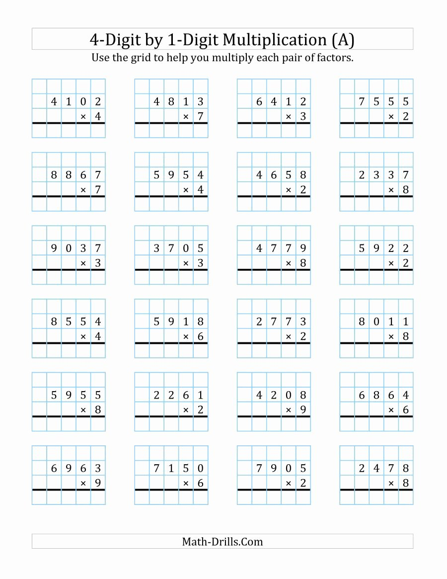 4 Digit by 1 Digit Multiplication Worksheets Awesome the 4 Digit by 1 Digit Multiplication with Grid Support A