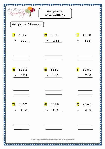 4 Digit by 1 Digit Multiplication Worksheets Fresh Grade Maths Resources Multiplication Digit Number by