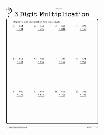 4 Digit by 1 Digit Multiplication Worksheets New 3 Digit by 1 Digit Multiplication Worksheets