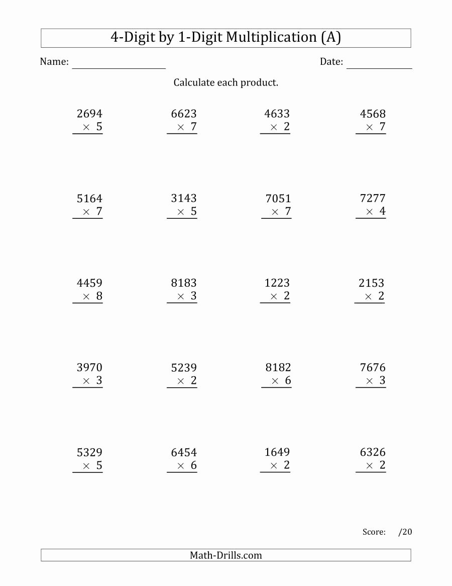 4 Digit by 1 Digit Multiplication Worksheets Unique Multiplying 4 Digit by 1 Digit Numbers A