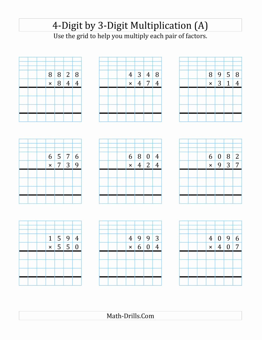 4 Multiplication Worksheets Awesome 4 Digit by 3 Digit Multiplication with Grid Support A