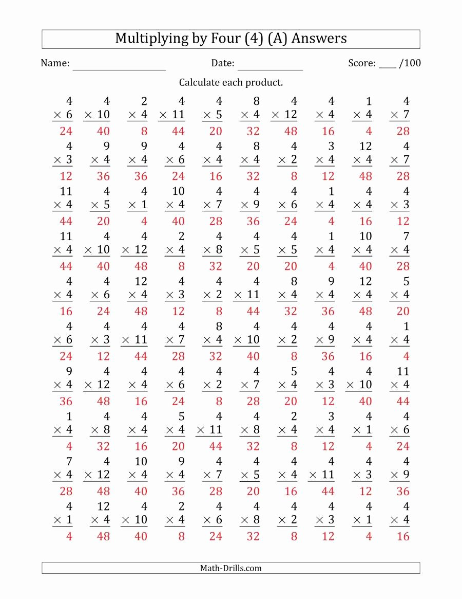 4s Multiplication Worksheets Fresh Multiplying by Four 4 with Factors 1 to 12 100 Questions A