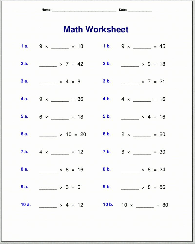 4th Grade Multiplication Worksheets Printable top 4th Grade Math Facts Worksheets Printable Math Worksheets