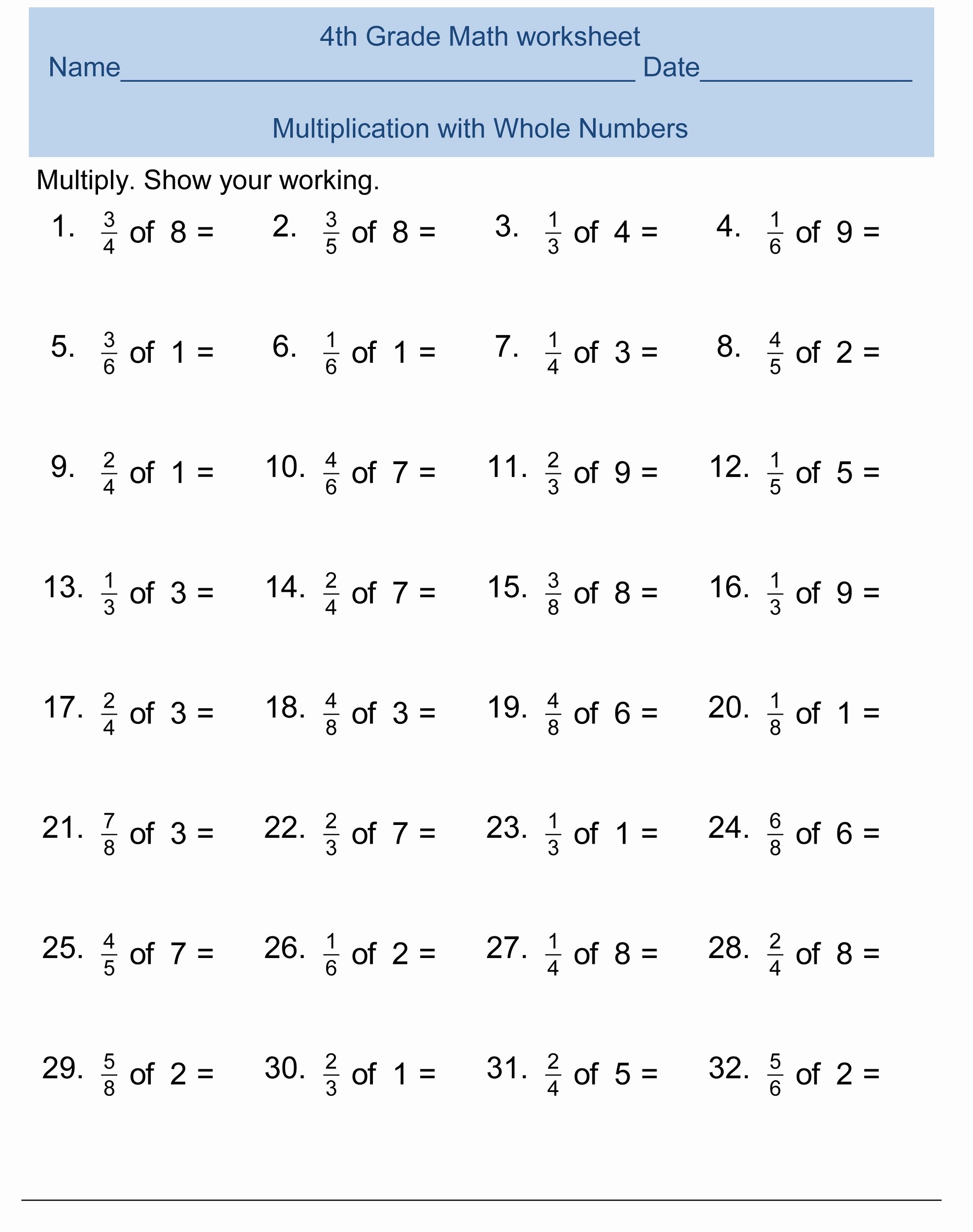 4th Grade Multiplication Worksheets Unique Free 4th Grade Math Worksheets Activity Shelter Fourth