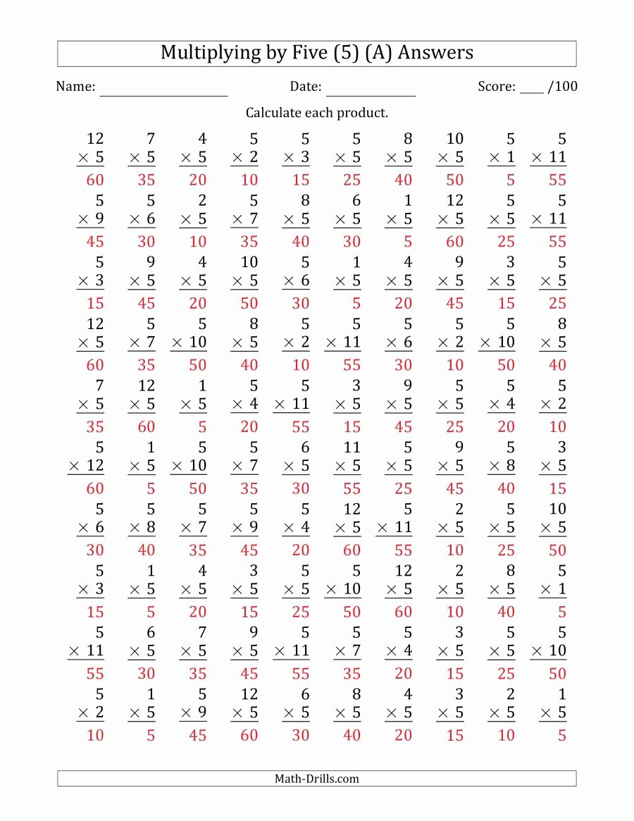 5's Multiplication Worksheets Lovely Multiplying by Five 5 with Factors 1 to 12 100 Questions A