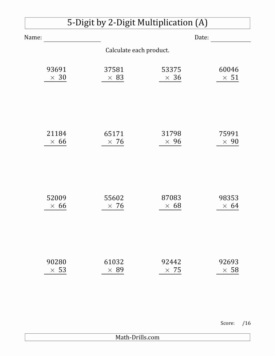 5's Multiplication Worksheets top Multiplying 5 Digit by 2 Digit Numbers A